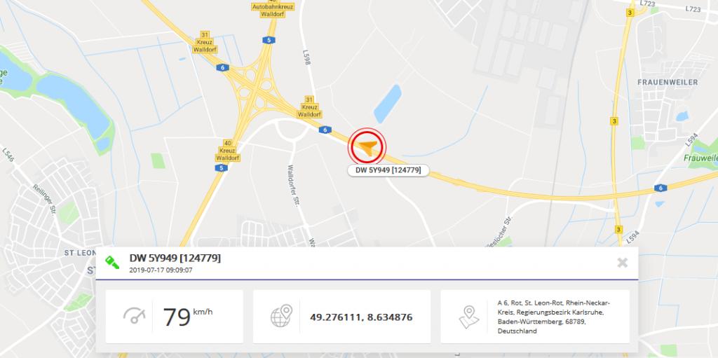 Widok mapy pokazujacy aktualna pozycja pojazdu_Botam